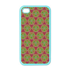 Red Green Flower Of Life Drawing Pattern Apple Iphone 4 Case (color) by Cveti