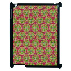 Red Green Flower Of Life Drawing Pattern Apple Ipad 2 Case (black) by Cveti