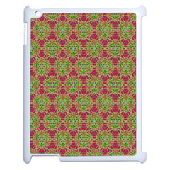 Red Green Flower Of Life Drawing Pattern Apple Ipad 2 Case (white) by Cveti