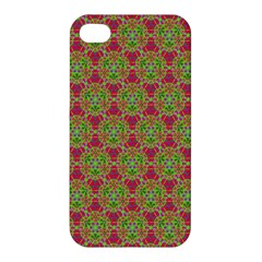 Red Green Flower Of Life Drawing Pattern Apple Iphone 4/4s Premium Hardshell Case by Cveti