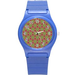 Red Green Flower Of Life Drawing Pattern Round Plastic Sport Watch (s) by Cveti