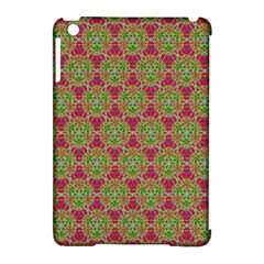 Red Green Flower Of Life Drawing Pattern Apple Ipad Mini Hardshell Case (compatible With Smart Cover) by Cveti