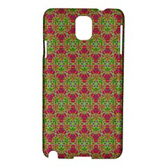 Red Green Flower Of Life Drawing Pattern Samsung Galaxy Note 3 N9005 Hardshell Case by Cveti