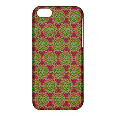 Red Green Flower Of Life Drawing Pattern Apple Iphone 5c Hardshell Case by Cveti
