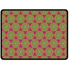 Red Green Flower Of Life Drawing Pattern Double Sided Fleece Blanket (large)  by Cveti