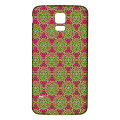Red Green Flower Of Life Drawing Pattern Samsung Galaxy S5 Back Case (white) by Cveti
