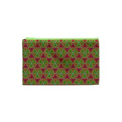 Red Green Flower Of Life Drawing Pattern Cosmetic Bag (xs) by Cveti