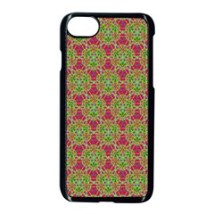 Red Green Flower Of Life Drawing Pattern Apple Iphone 7 Seamless Case (black) by Cveti