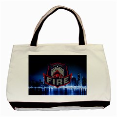 Chicago Fire With Skyline Basic Tote Bag by allthingseveryone