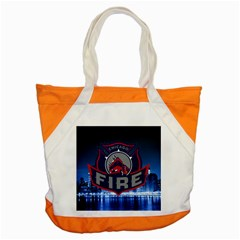 Chicago Fire With Skyline Accent Tote Bag by allthingseveryone