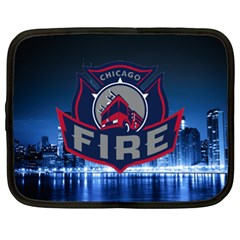 Chicago Fire With Skyline Netbook Case (xl)  by AllThingsEveryone