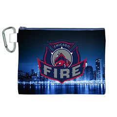 Chicago Fire With Skyline Canvas Cosmetic Bag (xl) by AllThingsEveryone