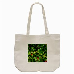 Christmas Season Floral Green Red Skimmia Flower Tote Bag (cream) by yoursparklingshop