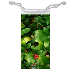 Christmas Season Floral Green Red Skimmia Flower Jewelry Bag by yoursparklingshop