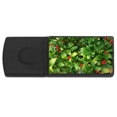 Christmas Season Floral Green Red Skimmia Flower Rectangular Usb Flash Drive by yoursparklingshop