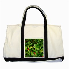 Christmas Season Floral Green Red Skimmia Flower Two Tone Tote Bag by yoursparklingshop