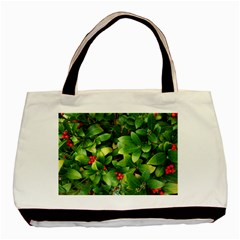Christmas Season Floral Green Red Skimmia Flower Basic Tote Bag (two Sides) by yoursparklingshop