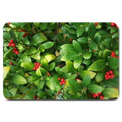 Christmas Season Floral Green Red Skimmia Flower Large Doormat  by yoursparklingshop