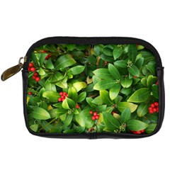 Christmas Season Floral Green Red Skimmia Flower Digital Camera Cases by yoursparklingshop