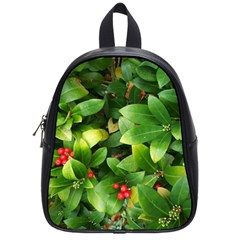 Christmas Season Floral Green Red Skimmia Flower School Bag (small) by yoursparklingshop