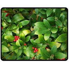 Christmas Season Floral Green Red Skimmia Flower Fleece Blanket (medium)  by yoursparklingshop