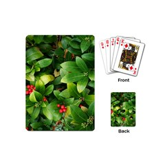 Christmas Season Floral Green Red Skimmia Flower Playing Cards (mini)  by yoursparklingshop