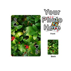 Christmas Season Floral Green Red Skimmia Flower Playing Cards 54 (mini)  by yoursparklingshop
