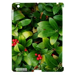 Christmas Season Floral Green Red Skimmia Flower Apple Ipad 3/4 Hardshell Case (compatible With Smart Cover) by yoursparklingshop