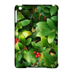 Christmas Season Floral Green Red Skimmia Flower Apple Ipad Mini Hardshell Case (compatible With Smart Cover) by yoursparklingshop