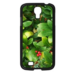 Christmas Season Floral Green Red Skimmia Flower Samsung Galaxy S4 I9500/ I9505 Case (black) by yoursparklingshop