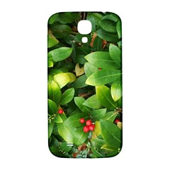 Christmas Season Floral Green Red Skimmia Flower Samsung Galaxy S4 I9500/i9505  Hardshell Back Case by yoursparklingshop