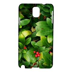 Christmas Season Floral Green Red Skimmia Flower Samsung Galaxy Note 3 N9005 Hardshell Case by yoursparklingshop