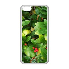 Christmas Season Floral Green Red Skimmia Flower Apple Iphone 5c Seamless Case (white) by yoursparklingshop