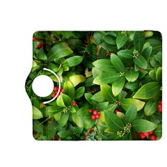 Christmas Season Floral Green Red Skimmia Flower Kindle Fire Hdx 8 9  Flip 360 Case by yoursparklingshop