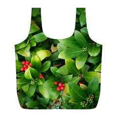 Christmas Season Floral Green Red Skimmia Flower Full Print Recycle Bags (l)  by yoursparklingshop