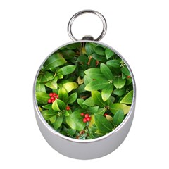 Christmas Season Floral Green Red Skimmia Flower Mini Silver Compasses by yoursparklingshop