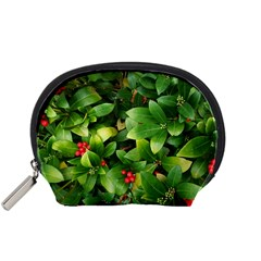 Christmas Season Floral Green Red Skimmia Flower Accessory Pouches (small)  by yoursparklingshop