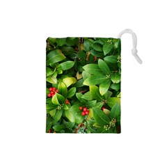 Christmas Season Floral Green Red Skimmia Flower Drawstring Pouches (small)  by yoursparklingshop