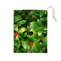 Christmas Season Floral Green Red Skimmia Flower Drawstring Pouches (large)  by yoursparklingshop