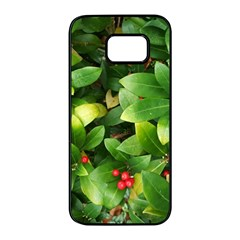 Christmas Season Floral Green Red Skimmia Flower Samsung Galaxy S7 Edge Black Seamless Case by yoursparklingshop