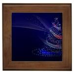 Christmas Tree Blue Stars Starry Night Lights Festive Elegant Framed Tiles
