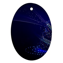 Christmas Tree Blue Stars Starry Night Lights Festive Elegant Ornament (oval) by yoursparklingshop