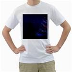Christmas Tree Blue Stars Starry Night Lights Festive Elegant Men s T-Shirt (White) (Two Sided)