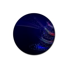 Christmas Tree Blue Stars Starry Night Lights Festive Elegant Rubber Round Coaster (4 Pack)  by yoursparklingshop