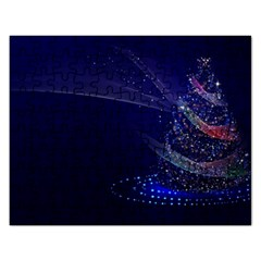 Christmas Tree Blue Stars Starry Night Lights Festive Elegant Rectangular Jigsaw Puzzl by yoursparklingshop