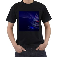Christmas Tree Blue Stars Starry Night Lights Festive Elegant Men s T Shirt (black) (two Sided) by yoursparklingshop