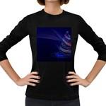 Christmas Tree Blue Stars Starry Night Lights Festive Elegant Women s Long Sleeve Dark T-Shirts