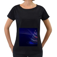 Christmas Tree Blue Stars Starry Night Lights Festive Elegant Women s Loose Fit T Shirt (black) by yoursparklingshop