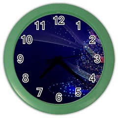 Christmas Tree Blue Stars Starry Night Lights Festive Elegant Color Wall Clocks by yoursparklingshop