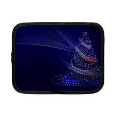 Christmas Tree Blue Stars Starry Night Lights Festive Elegant Netbook Case (small)  by yoursparklingshop